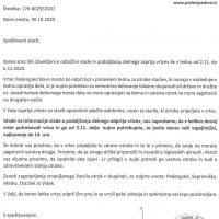 Obvestilo staršem o delovanju vrtca od 2.11. do 6.11.2020