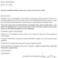 Obvestilo o podaljšanju delnega odprtja vrtca v času od 16.11. do 27.11.2020