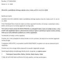 Obvestilo o podaljšanju delnega odprtja vrtca v tednu od 9.11. do 13.11.2020