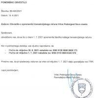 Obvestilo o spremembi transakcijskega računa vrtca